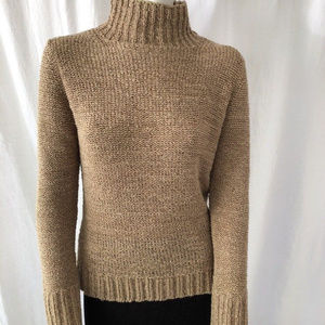 Max Studio Taupe Cable Knit Turtleneck Sweater L